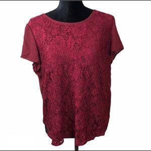 Ann Taylor Lace blouse burgundy size LP